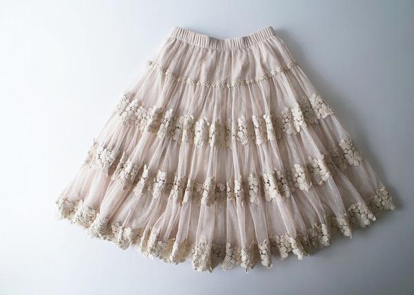 LoisCRAYON(ロイスクレヨン) 古着 リサイクル お花刺繍チュールレースボリュームスカート