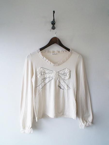 LoisCRAYON(ロイスクレヨン) 古着 リサイクル ロゴ刺繍リボンレースTシャツ