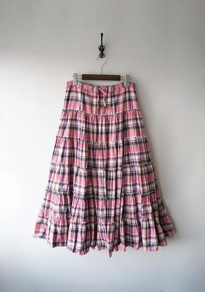 LoisCRAYON(ロイスクレヨン) 古着 リサイクル チェックマキシボリュームスカート