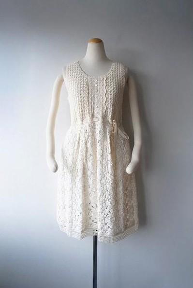 LoisCRAYON(ロイスクレヨン) 古着 リサイクル カギ針編みフラワーレースワンピース