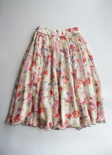 LoisCRAYON(ロイスクレヨン) 古着 リサイクル 手描き花柄シフォンスカート
