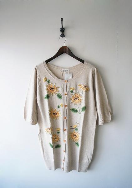 LoisCRAYON(ロイスクレヨン) 古着 リサイクル ひまわり刺繍ロングカーディガン