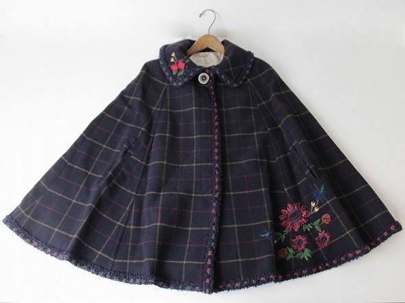 LoisCRAYON(ロイスクレヨン) 古着 リサイクル 2013 受注コート ルアーナ フラワー刺繍 マント コート