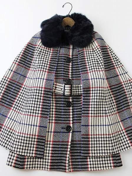 LoisCRAYON(ロイスクレヨン) 2010 受注コート パティ ファー付 チェック マント コート