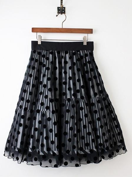 LoisCRAYON(ロイスクレヨン) ドットストライプシフォンボリュームスカート