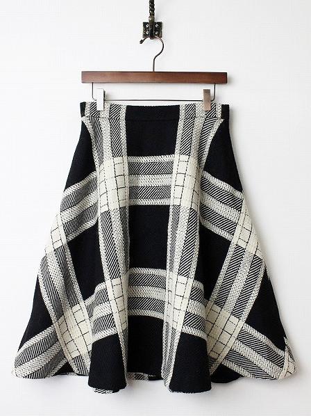 LoisCRAYON(ロイスクレヨン) 古着 リサイクル モノトーン チェック フレア スカート