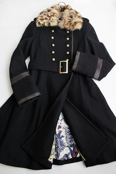 LoisCRAYON(ロイスクレヨン) 古着 リサイクル 2010 受注コート エイミー レオパード柄ファー付き クラシカルナポレオンコート