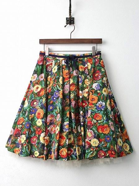 LoisCRAYON(ロイスクレヨン) 古着 リサイクル ガーベラ プリント フレア スカート