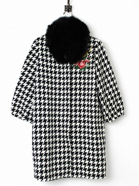 LoisCRAYON(ロイスクレヨン) 古着 リサイクル 2016AW 受注コート オリビア 千鳥格子 花刺繍 コート