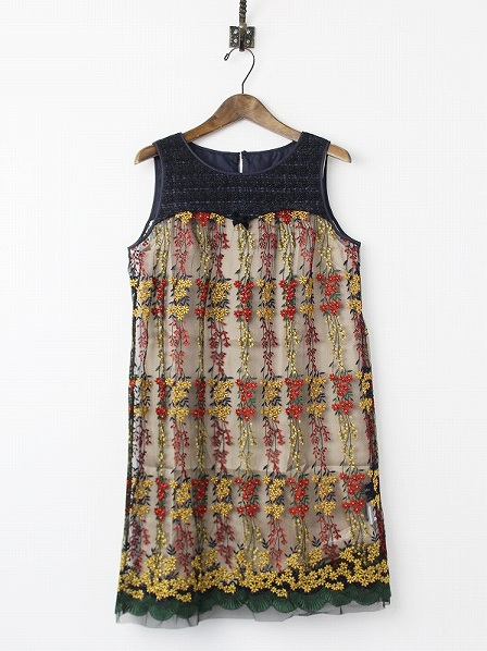 LoisCRAYON(ロイスクレヨン) 古着 リサイクル フラワー 刺繍 チュール ワンピース