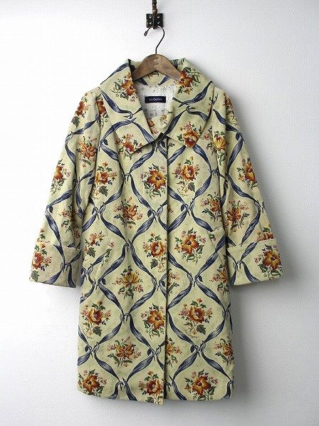 LoisCRAYON(ロイスクレヨン) 古着 リサイクル フラワー プリント ベロア ロング コート