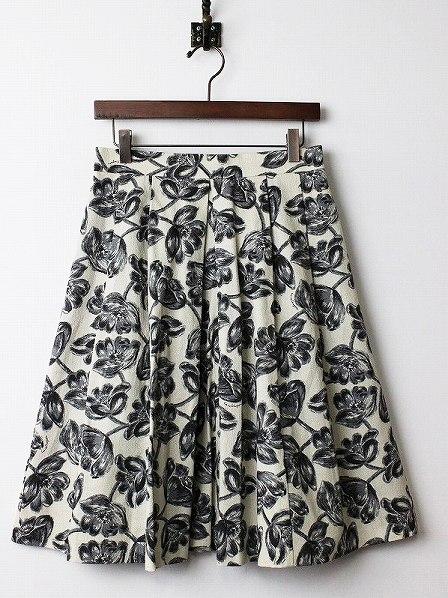LoisCRAYON(ロイスクレヨン) 古着 リサイクル モノトーン フラワー フレア スカート
