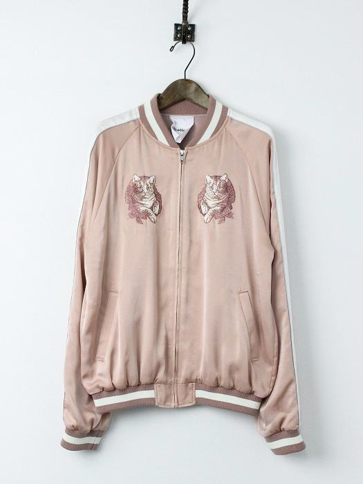LoisCRAYON(ロイスクレヨン) エルシー ネコ刺繍 スカジャン