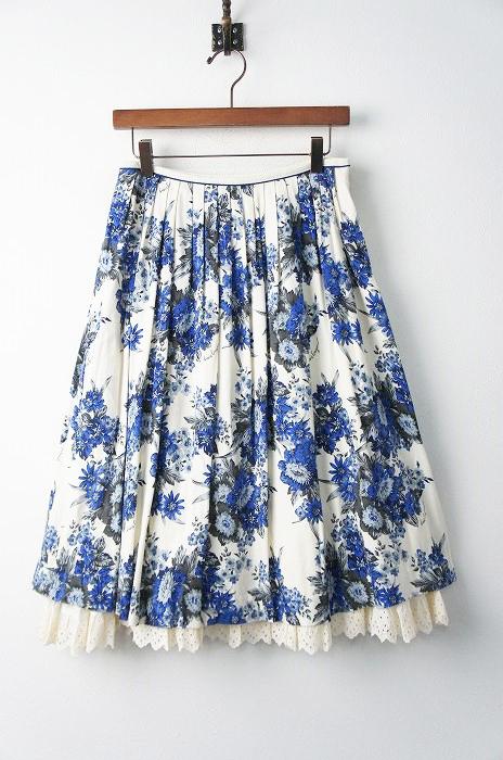 LoisCRAYON(ロイスクレヨン) ブルー フラワー プリント フレア スカート
