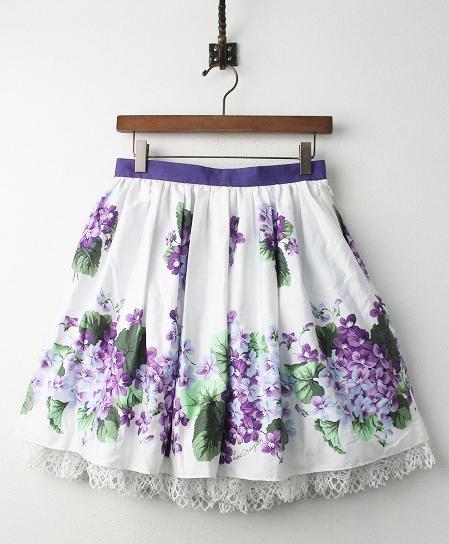 LoisCRAYON(ロイスクレヨン) 古着 リサイクル スミレ プリント スカート
