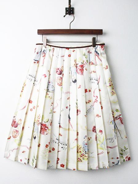 LoisCRAYON(ロイスクレヨン) アンジェラプリント サテン プリーツ スカート