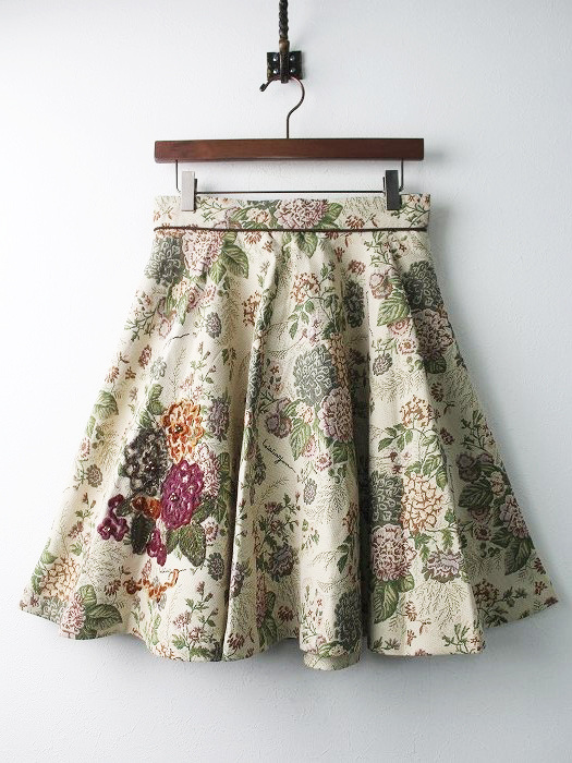 LoisCRAYON(ロイスクレヨン) 古着 リサイクル フラワー ニット 刺繍 ゴブラン フレア スカート