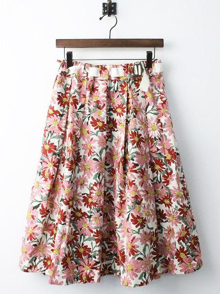 LoisCRAYON(ロイスクレヨン) ピンク フラワー フレア スカート