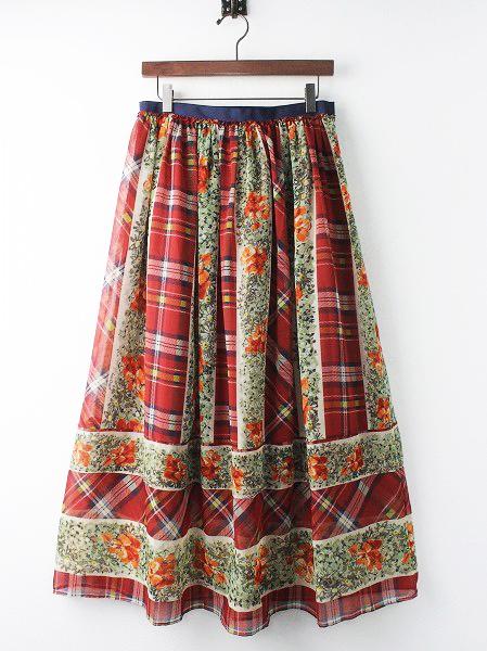 LoisCRAYON(ロイスクレヨン) チェック フラワー マキシ スカート