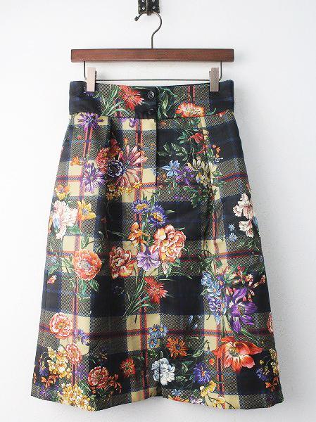 LoisCRAYON(ロイスクレヨン) チェック ON フラワー スカート