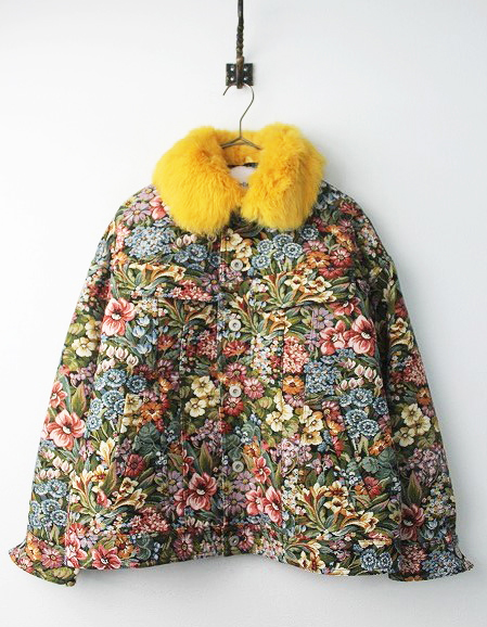 LoisCRAYON(ロイスクレヨン) ファー襟 フラワー ゴブラン織り ジャケット