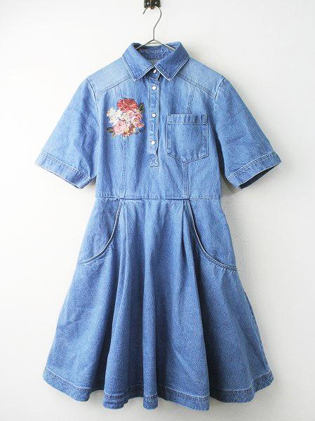 LoisCRAYON(ロイスクレヨン) 古着 リサイクル フラワー 刺繍 デニム ワンピース