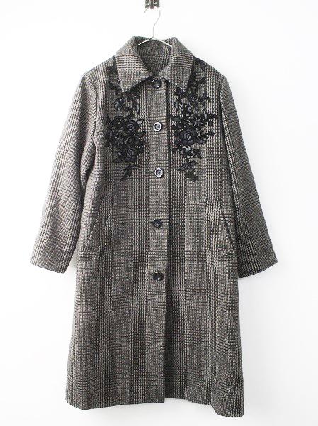 LoisCRAYON(ロイスクレヨン) 古着 リサイクル グレンチェック フラワー シシュウ コート