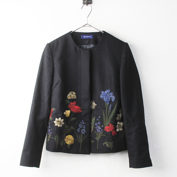 LoisCRAYON(ロイスクレヨン) 古着 リサイクル フラワー 刺繍 ノーカラー ジャケット