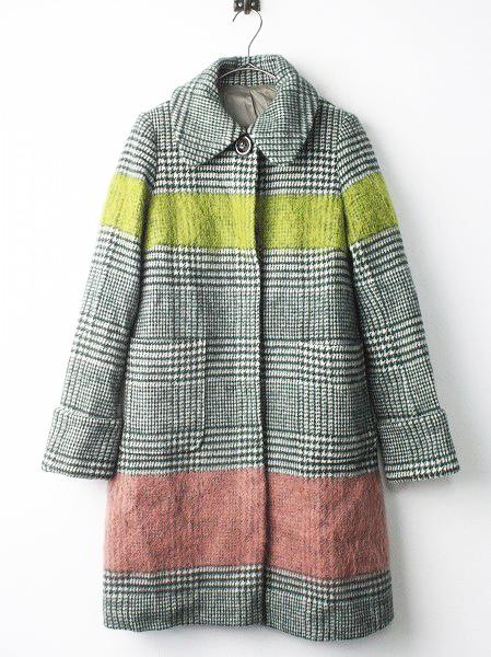 LoisCRAYON(ロイスクレヨン) 古着 リサイクル カラフルライン グレンチェック ウール コート