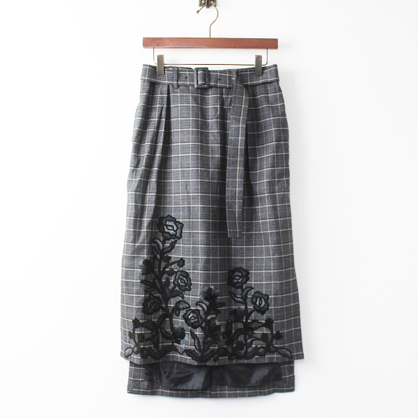 LoisCRAYON(ロイスクレヨン) 古着 リサイクル グレンチェック モノクロフラワー 刺繍 スカート