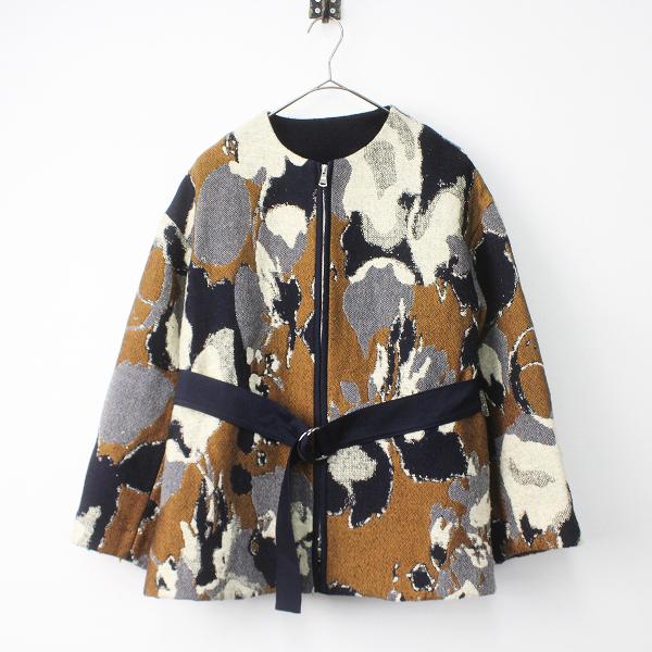 LoisCRAYON(ロイスクレヨン) 古着 リサイクル LIFE WITH FLOWERS 2017AW 秋冬 フラワー ジャガード ノーカラー コート