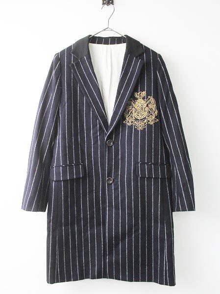 LoisCRAYON(ロイスクレヨン) 古着 リサイクル 胸刺繍 チョーク ストライプ チェスター コート